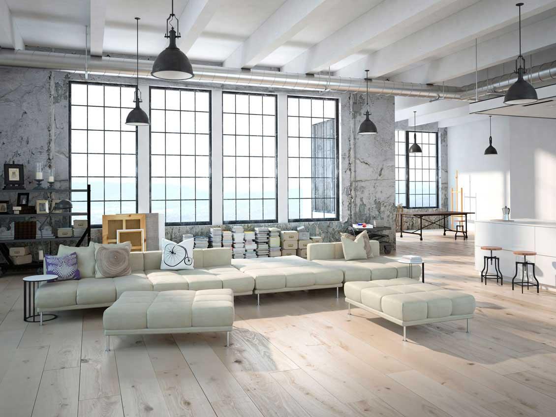 Luksusowa, otwarta na salon nowoczesna kuchnia na wymiar - kuchnie białe na zamówienie z salonem.